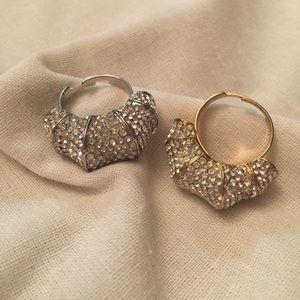 BNWT - pave bamboo ring/adjustable